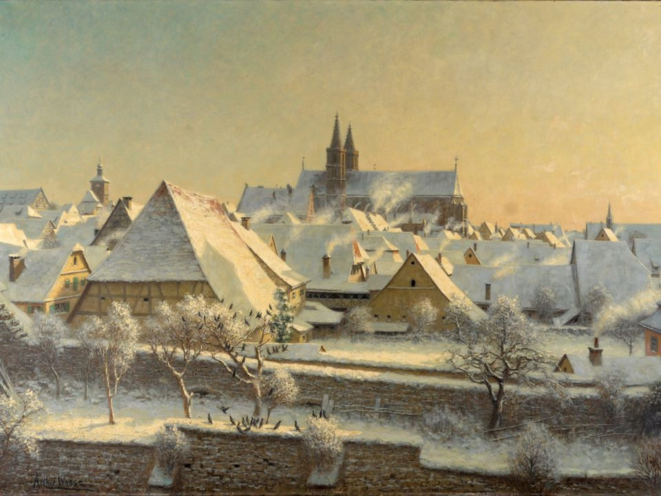 Arthur Wasse: Die Stadt im Rauch, Öl auf Leinwand, um 1920