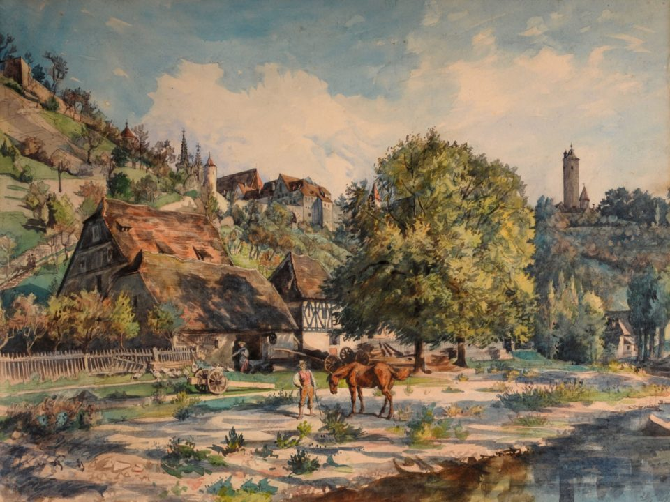 Theodor Alt: Die Bronnenmühle bei Rothenburg, Aquarell, datiert 23.9.1894. RothenburgMuseum